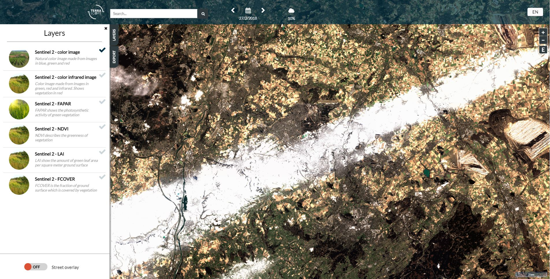 Terraviewer showing an Sentinel 2 color image.