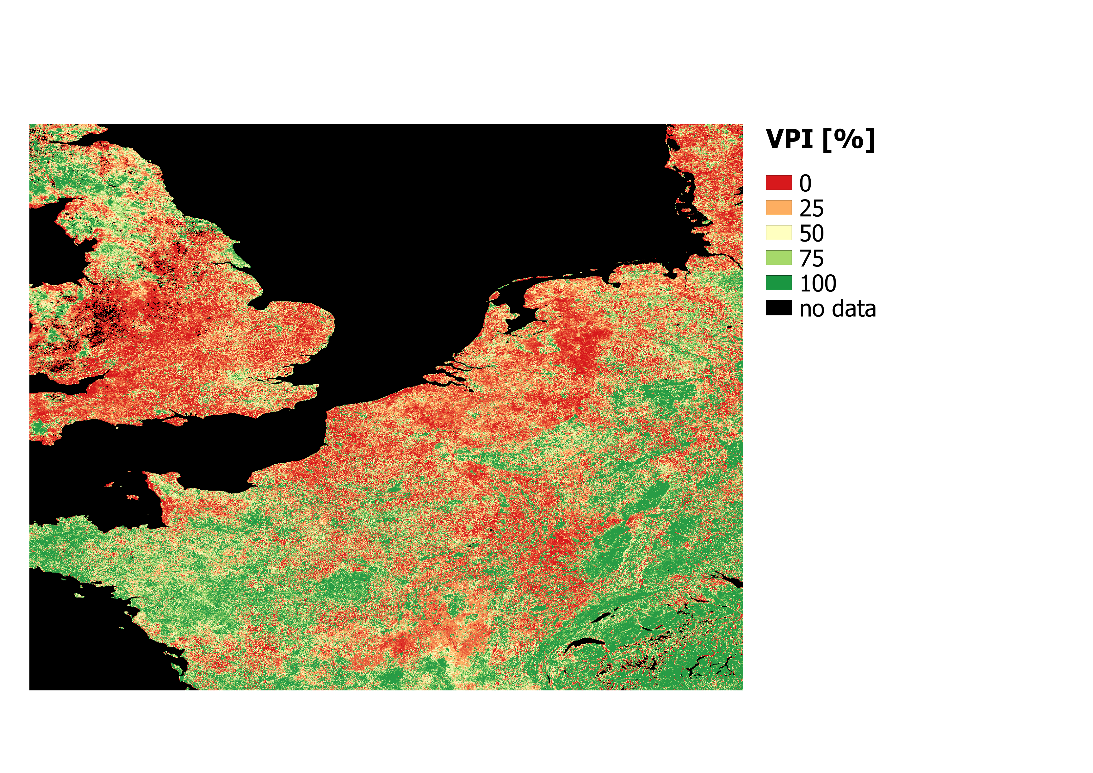 Vegetation Productivity Index (VPI) for the last dekad of July 2018 which clearly shows that the majority of the area in North western Europe is in the  lowest 25% ever measured by satellite data