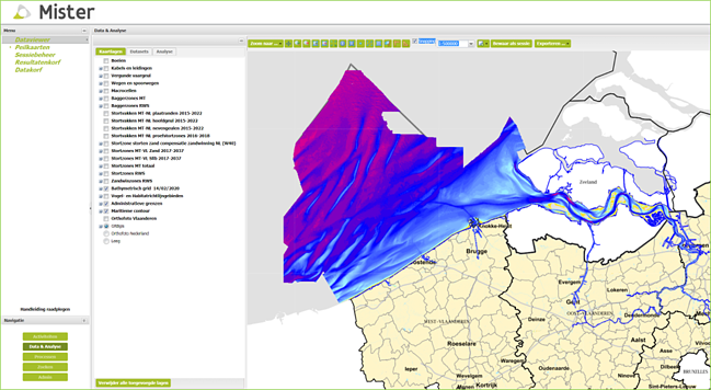 Printscreen MISTER, the GIS bringing together all relevant geo-information on the Scheldt.