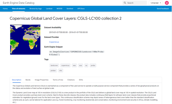 Copernicus global land cover layers in the Google Earth Engine Data Catalog