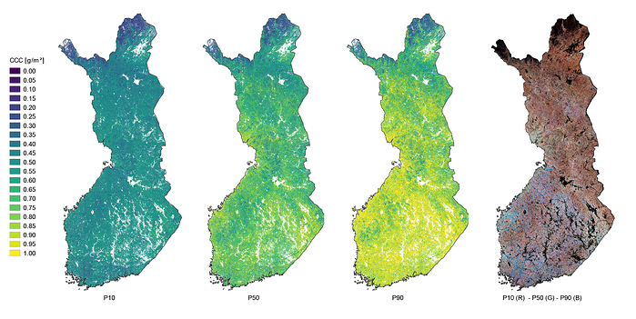 Per pixel Canopy Chlorophyll Content (CCC) time series percentiles over Finland