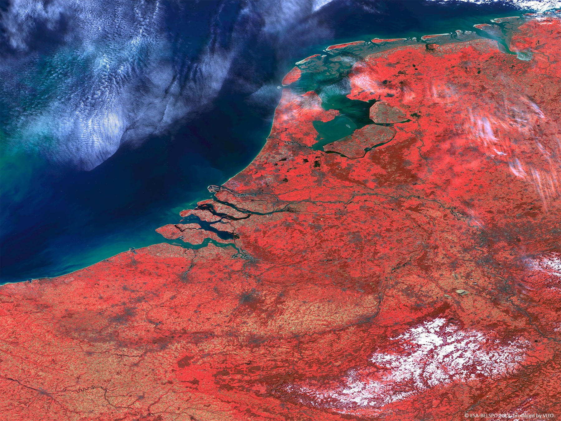 100 m image of the estuaries of the Scheldt and Rhine rivers along the coast of Belgium and The Netherlands
