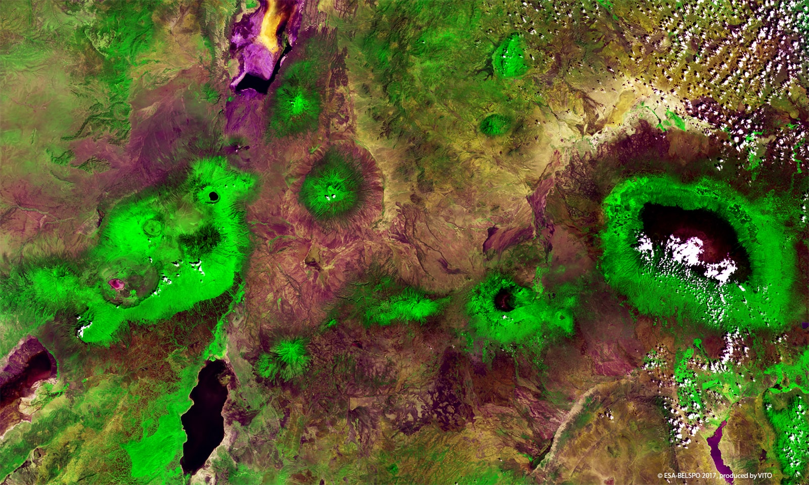 PROBA-V 100 m image of the Kilimanjaro Region,  north east Tanzania